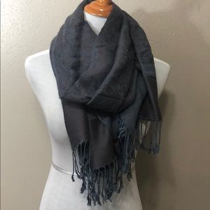 Accessories - Gray blue pashmina scarf with fringe